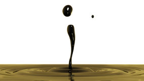 Drop of crude oil macro with the focus effect (side view on whit Stock Images