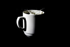 Drop in a cup of milk Royalty Free Stock Images
