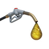 Drop full of gold coins weeping from fuel nozzle Stock Images