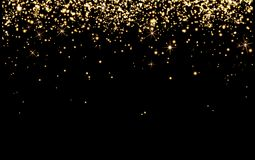 Drop gold champagne sparks, bright yellow particles Shine on black background, cheerful holiday, happiness, Christmas, new year. Abstract background birthday royalty free illustration