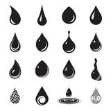 Drop icons. Drop, aqua, fluid symbols. Black drop icons isolated on a white background Stock Photography