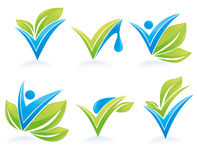 Drop and leaves. Vector collection of signs and marks Royalty Free Stock Images