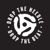 Drop the needle, drop the beat vinyl record logo Stock Photo