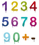 Drop numbers. Set of color drop numbers in vector mode Stock Photo