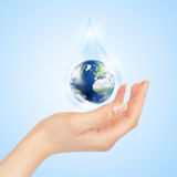 Drop Of Water With Earth Inside And Hand Royalty Free Stock Photography