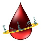 Drop of oil and the silhouettes of oil industry. Royalty Free Stock Image