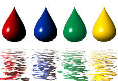 Drop of paint with reflection. Four colored Drop of paint on white with reflection Stock Photography