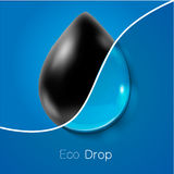 Drop of petroleum and clear water. Ecology Royalty Free Stock Photo