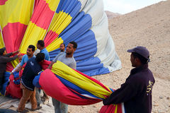 Drop process of balloon in Luxor Stock Photo