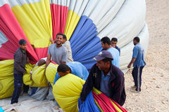 Drop process of balloon in Luxor Stock Photography