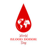 Drop of Red Blood with Planet Earth Icon. Royalty Free Stock Images