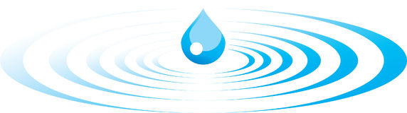 Drop and ripples. An illustration of a blue drop creating ripples in the water Royalty Free Stock Image