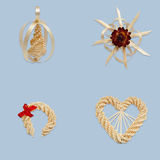 Drop, star, horseshoe and heart from straw Royalty Free Stock Image