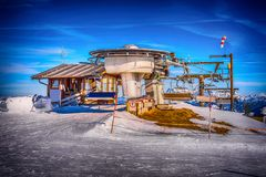 The drop-of station of the chair lift in the Alps Stock Photos