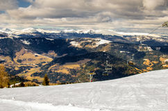 The drop-of station of the chair lift in the Alps Royalty Free Stock Image