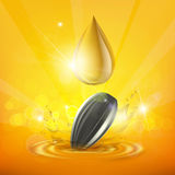 Drop of sunflower oil and seed. Royalty Free Stock Photo