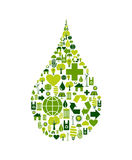 Drop symbol with environmental icons Royalty Free Stock Photo