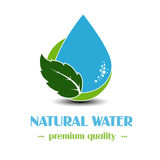 Drop symbol with leaf on white background, natural label for mineral water Stock Photos