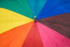 Drop on vivid color umbrella Royalty Free Stock Photography