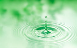 Drop of water. Created ripple with reflection Royalty Free Stock Images