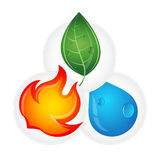 A drop of water, fire and green leaves eco design Stock Image