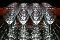 A drop of water on a glass. freeze glass. Champagne glasses on a tray.  royalty free stock images
