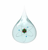 Drop of water with lithium atom Stock Photos