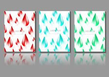 Drop of water red blue green color pattern set vector illustration