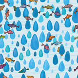 Drop watercolor blue fish seamless pattern. Illustration painting watercolor blue drop fish cartoon decor seamless pattern blue line background graphic element Stock Photography