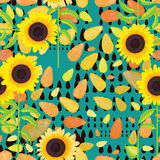 Drop watercolor sunflower seamless pattern Stock Photos