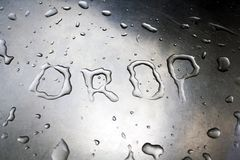 Drop written with water Royalty Free Stock Image