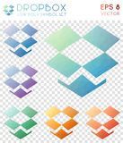 Dropbox geometric polygonal icons. Appealing mosaic style symbol collection. Magnificent low poly style. Modern design. Dropbox icons set for infographics or stock illustration
