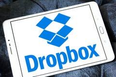 Dropbox logo. Logo of dropbox application on samsung tablet Royalty Free Stock Image