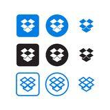 Dropbox social media icons. Collection of dropbox social media icons vector stock illustration