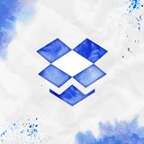 Dropbox watercolor icon. Alluring hand drawn style symbol. Sublime watercolor symbol. Modern design for infographics or presentation royalty free illustration
