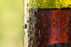 Droplets on the bottle of red wine Stock Photos