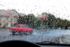 Droplets on car windshield Stock Photo