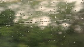 Droplets moving on train window. stock video