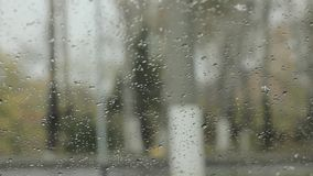 Droplets on a windshield on the day snow with rain. Blurred background.  stock video footage
