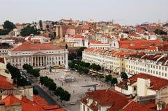 dropp för Praça Dom Pedro (Lisbon) Royaltyfri Bild