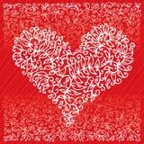 dropp för St. Valentine Love Red Heart Card Royaltyfri Foto