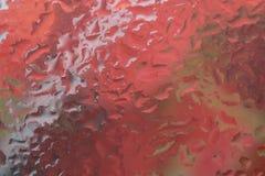Droppar av regn på ett fönsterexponeringsglas färg royaltyfria foton
