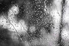 Droppar av regn på exponeringsglas fotografering för bildbyråer