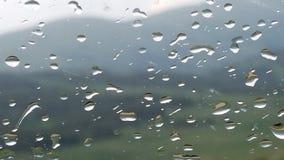 Droppar av regn på exponeringsglas royaltyfri fotografi