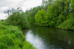 Droppar av regn på floden Royaltyfri Bild