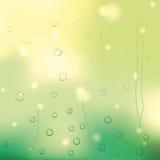 Droppar av regn på gult exponeringsglas Royaltyfria Bilder