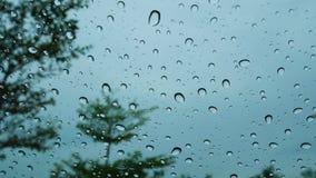 Droppar av regn som ner faller på bilexponeringsglaset stock video