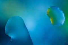 Droppar för blått vatten - makro Arkivfoto