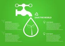 Droppar för vatten för räddningvärldssymbol med vattenkranen Royaltyfri Bild