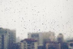 Droppe av vatten på fönstret Arkivfoto